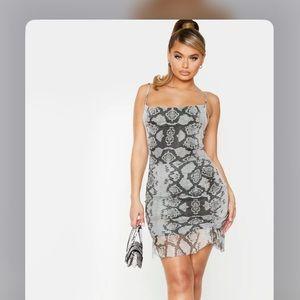 Grey Mesh Snake Print Ruched Bodycon Dress